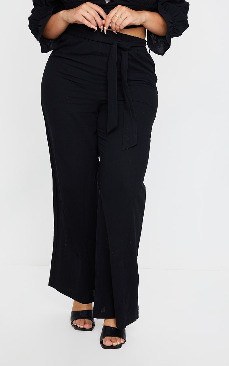 Plus Black Woven Wide Leg Fit Pants 2