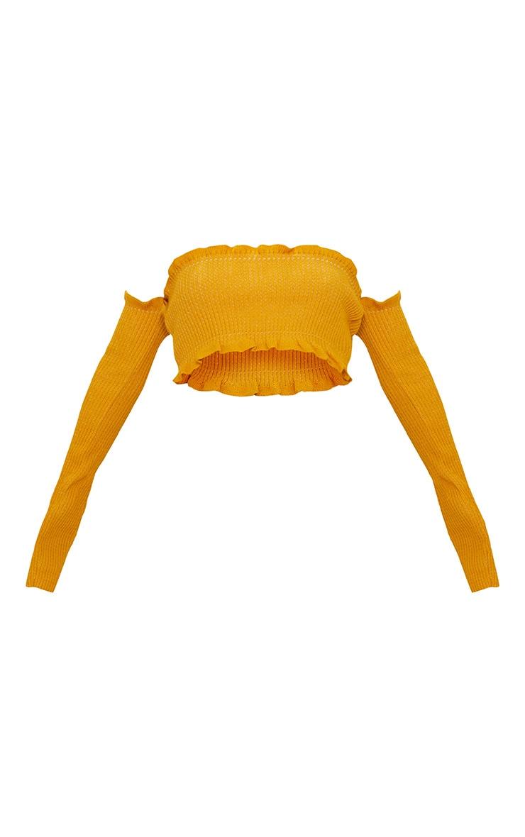 Mustard Ruffle Detail Knit Bardot Long Sleeve Top 3