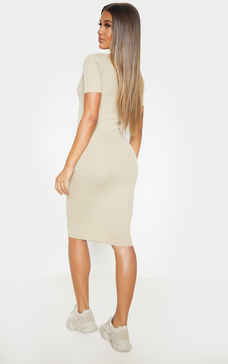 Biscuit Ribbed Midi Polo Dress 2