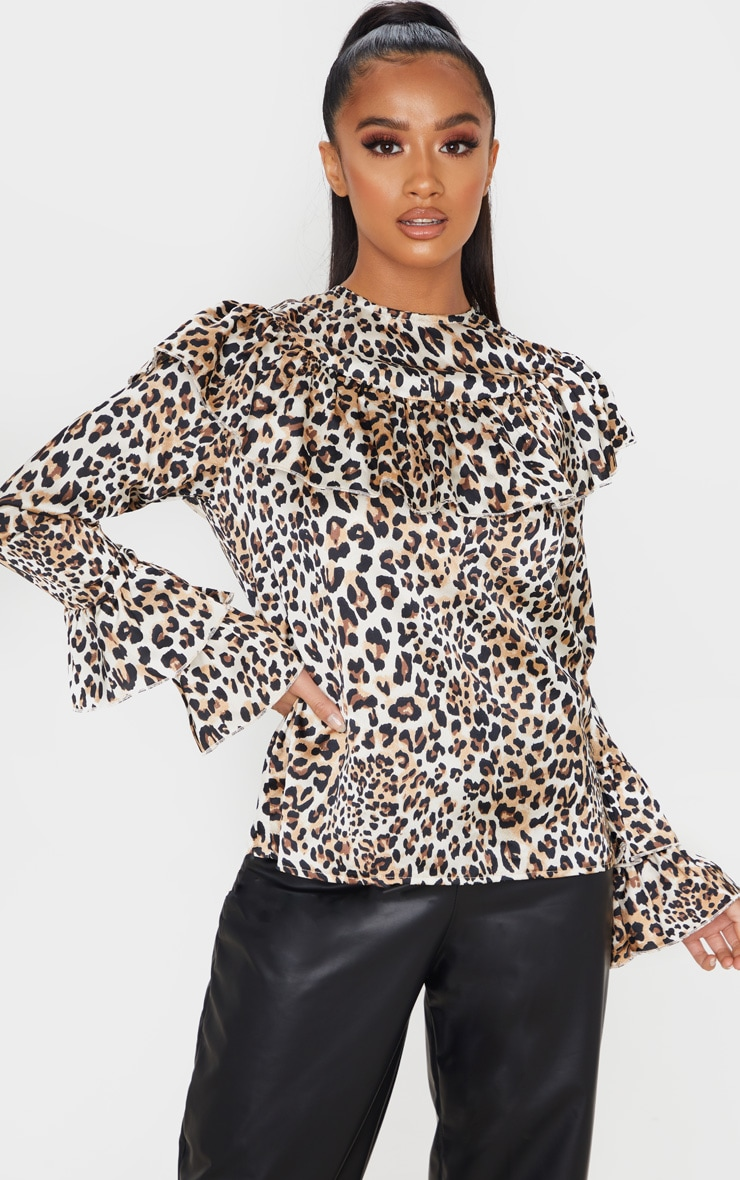 Petite Brown Leopard Frill Detail Long Sleeve Blouse 1