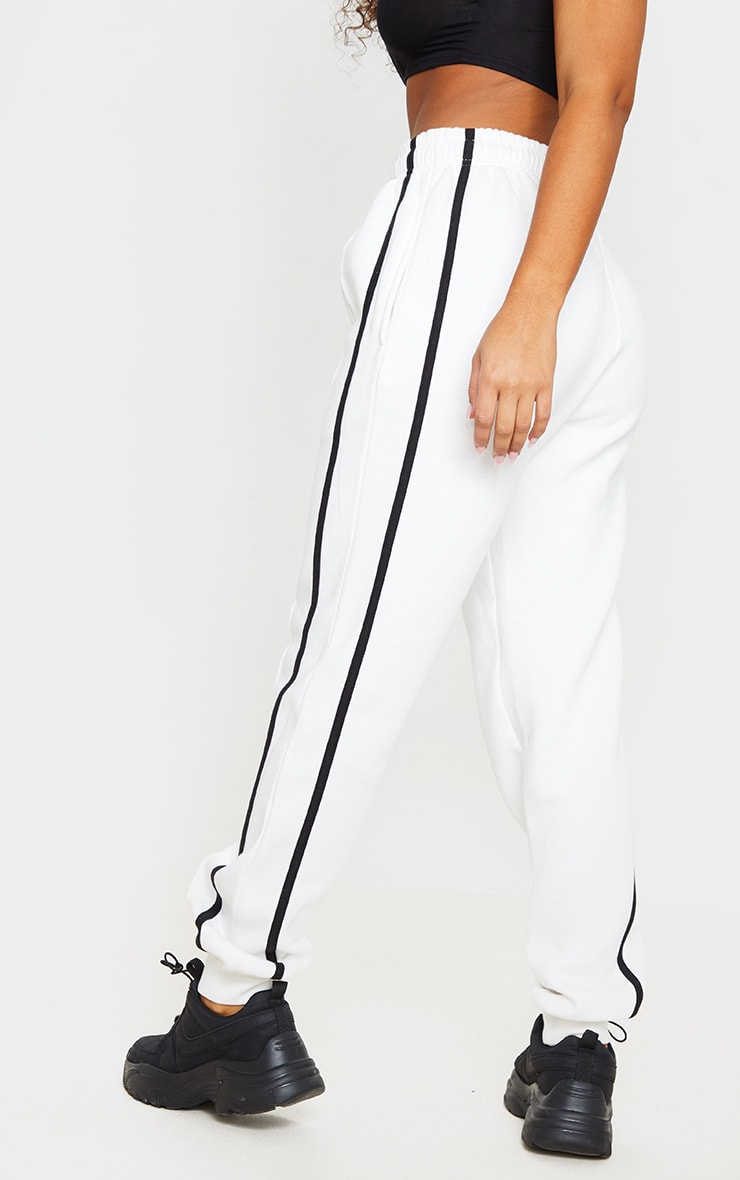 Cream Double Side Stripe Joggers 3