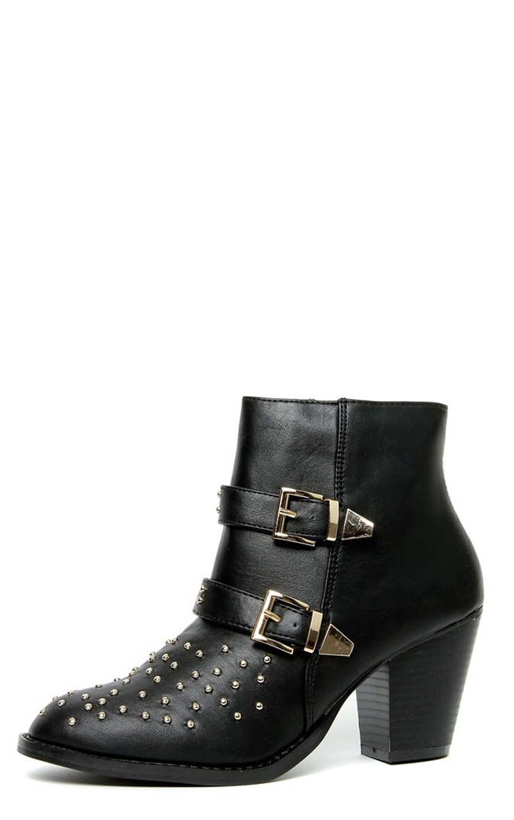 Ava Black Stud Buckle Boots 1