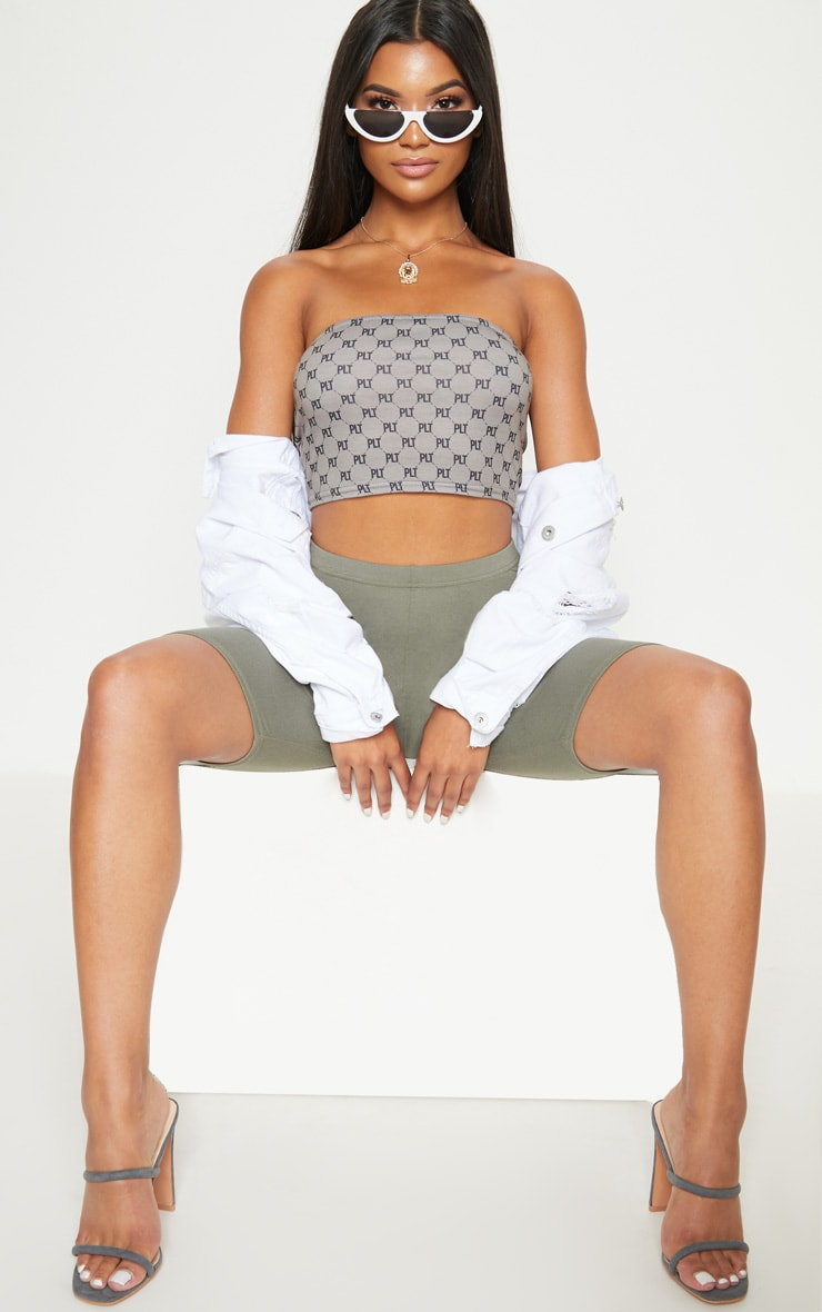 PLT GREY BANDEAU CROP TOP