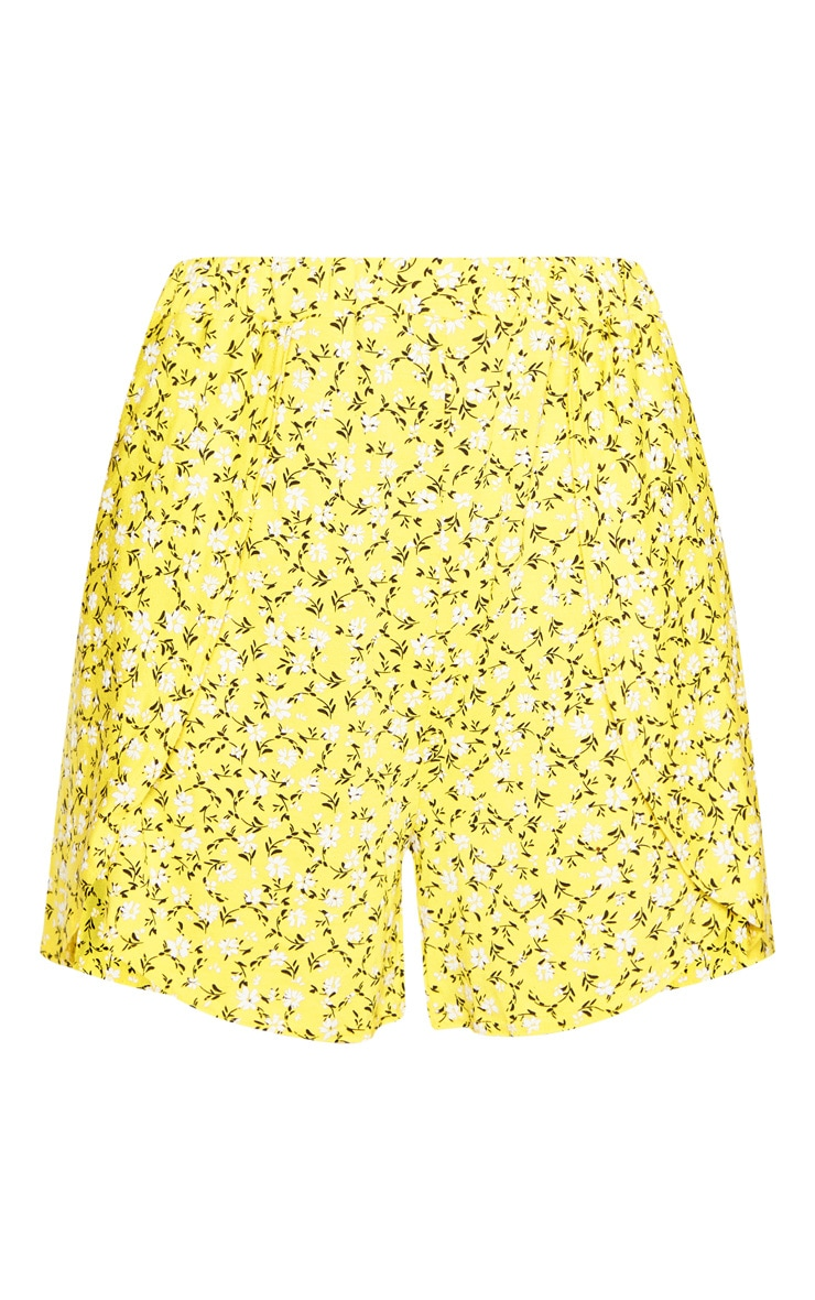Tall Yellow Ditsy Floral Print Floaty Short 3