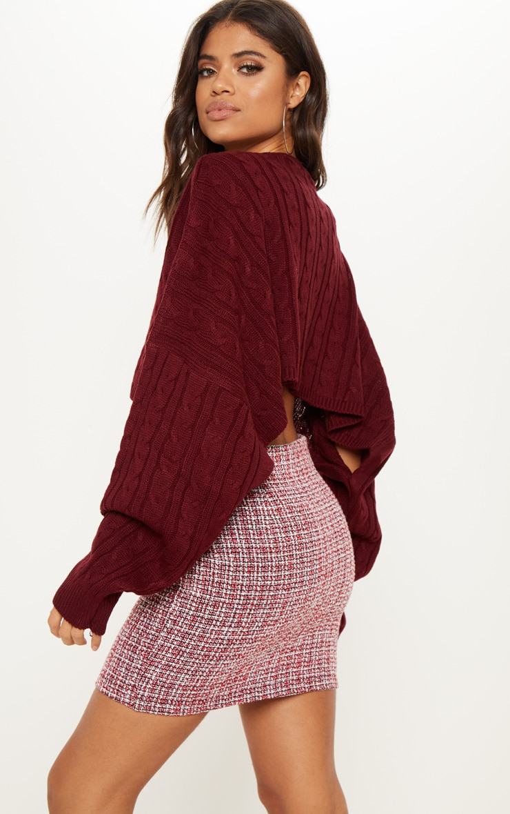 Burgundy Cable Cropped Knitted Jumper  2
