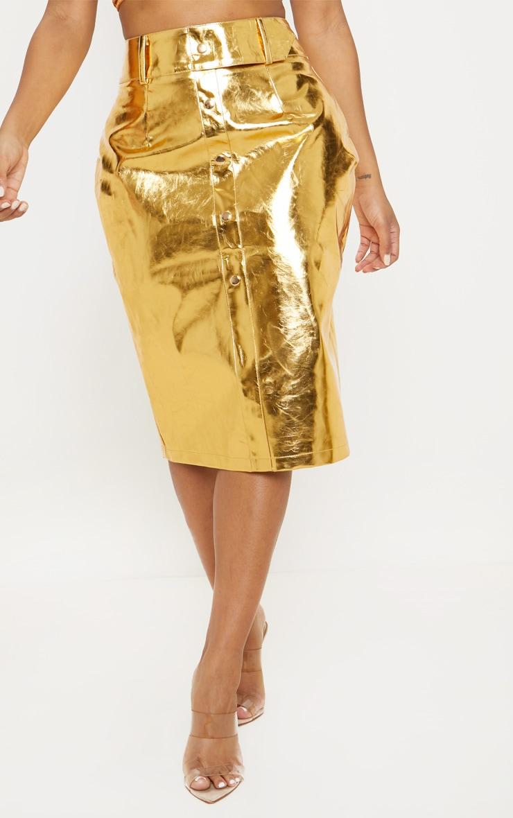 Shape Gold PU Button Front Midi Skirt  2