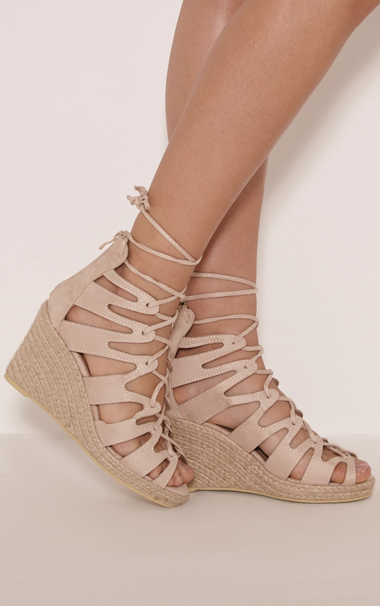 Oriana Cream Faux Suede Lace Up Wedges 2