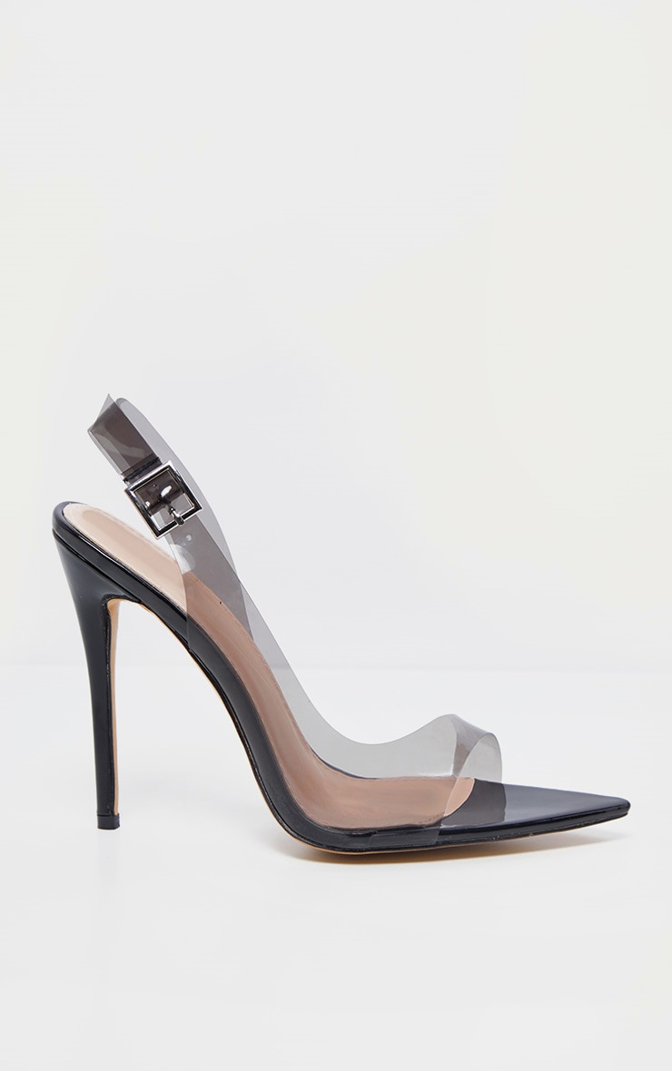 Black Slingback Point Toe Heeled Sandal  4
