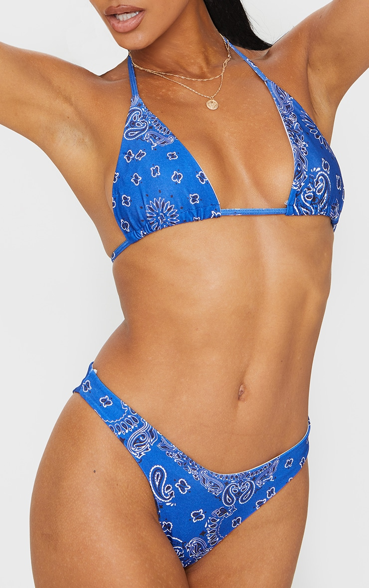 Blue Bandana Print High Leg Bikini Bottoms 1