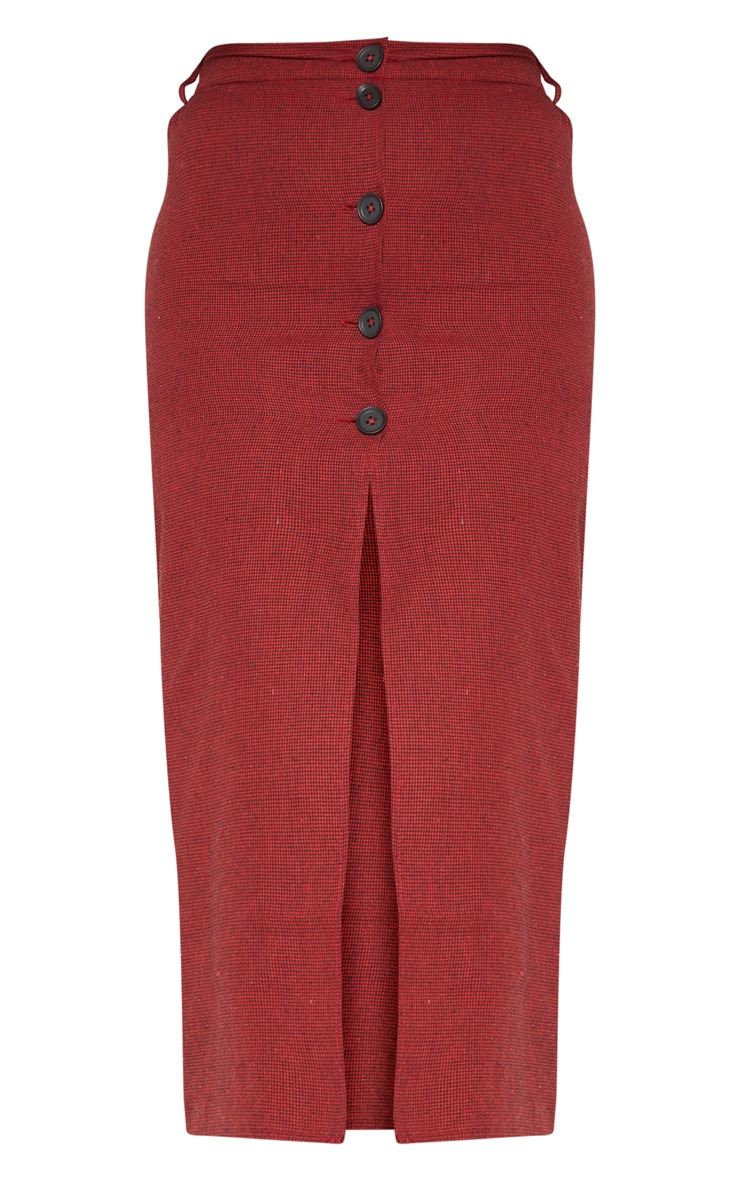 Red Check Button Detail Midi Skirt  3