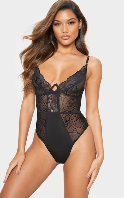 69fe43c0e Black Rose Lace Panelled Underwired Body