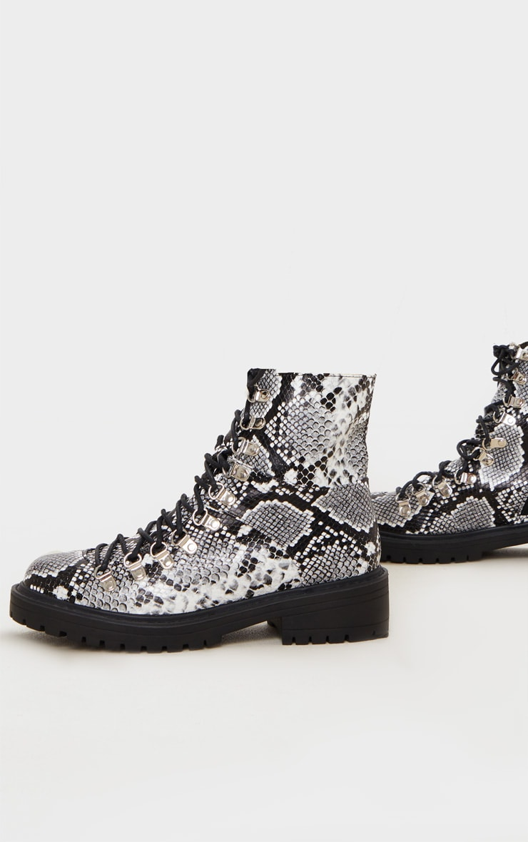 Snake Print Wide Fit Cleated Sole Hiker Eyelet Ankle Boot 3