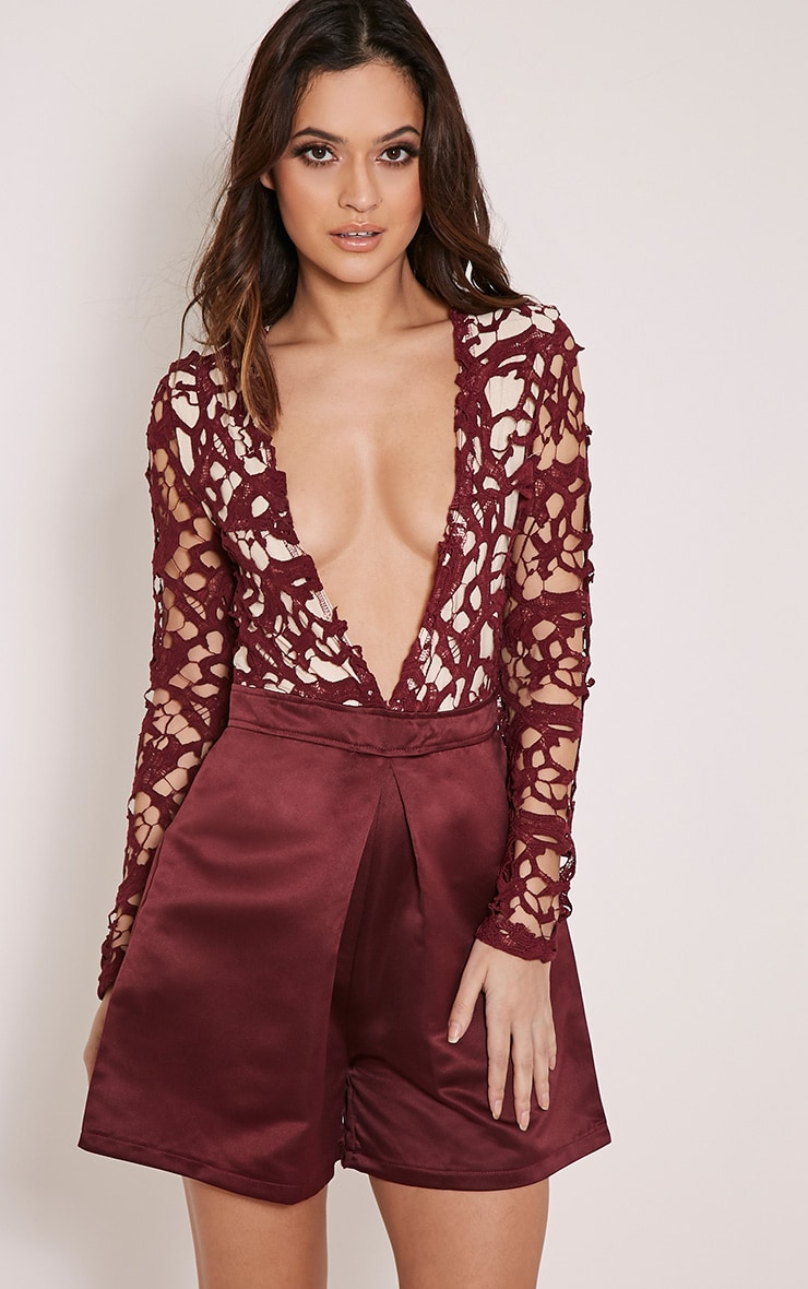 22a7832ebf3 Mailey Plum Crochet Lace Plunge Playsuit image 1