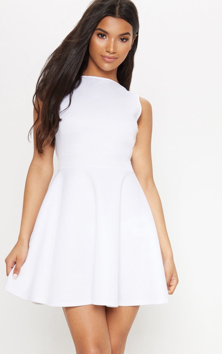 White Strappy Back Skater Dress 2