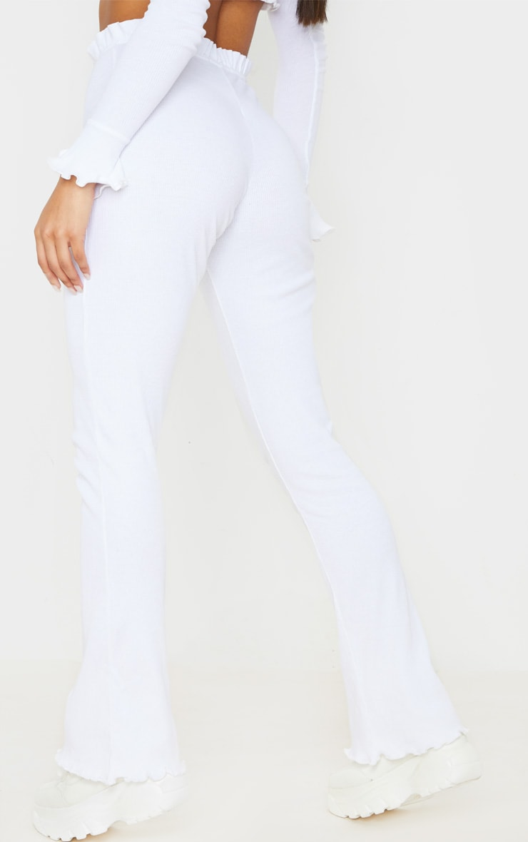 White Rib Frill Detail Wide Leg Pants 4