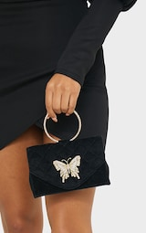 Black Quilted Circle Handle Butterfly Clutch 2