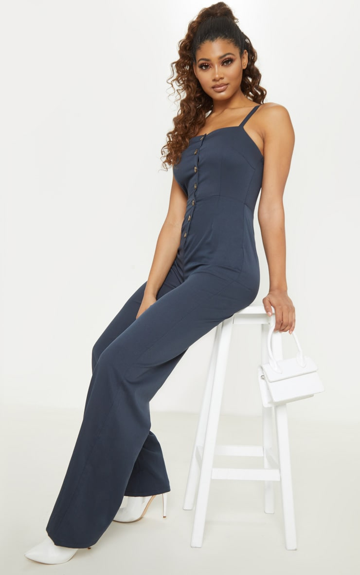 Tall Navy Strappy Button Front Wide Leg Jumpsuit 4