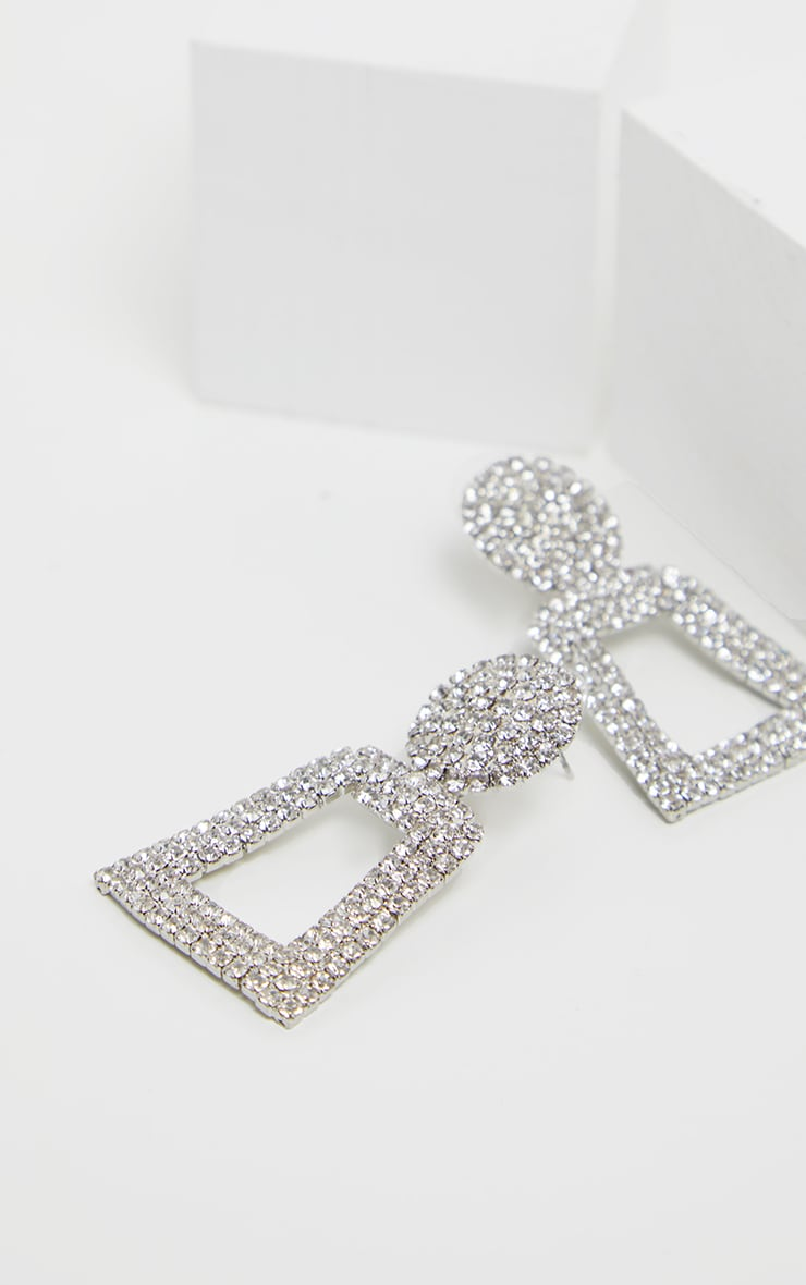 Silver Texture And Diamante Door Knocker Earring 3