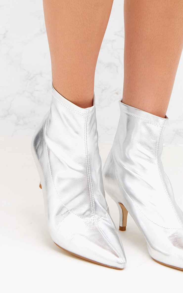 Silver PU Low Heeled Ankle Boots 5