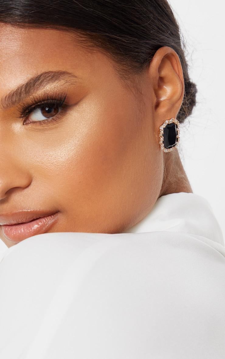 Black Crystal Diamante Border Larger Stud Earrings 1