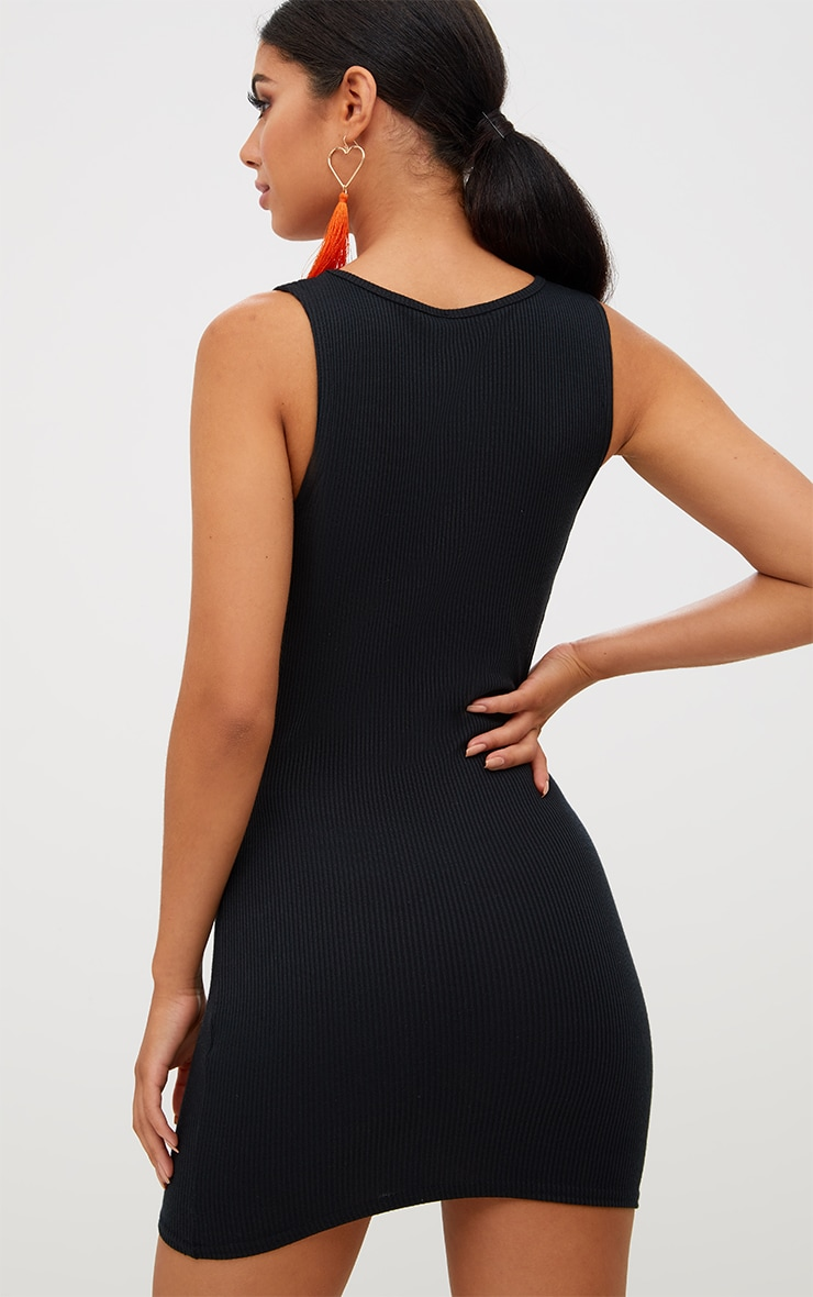 Black Ribbed Bow Side Bodycon Dress 2