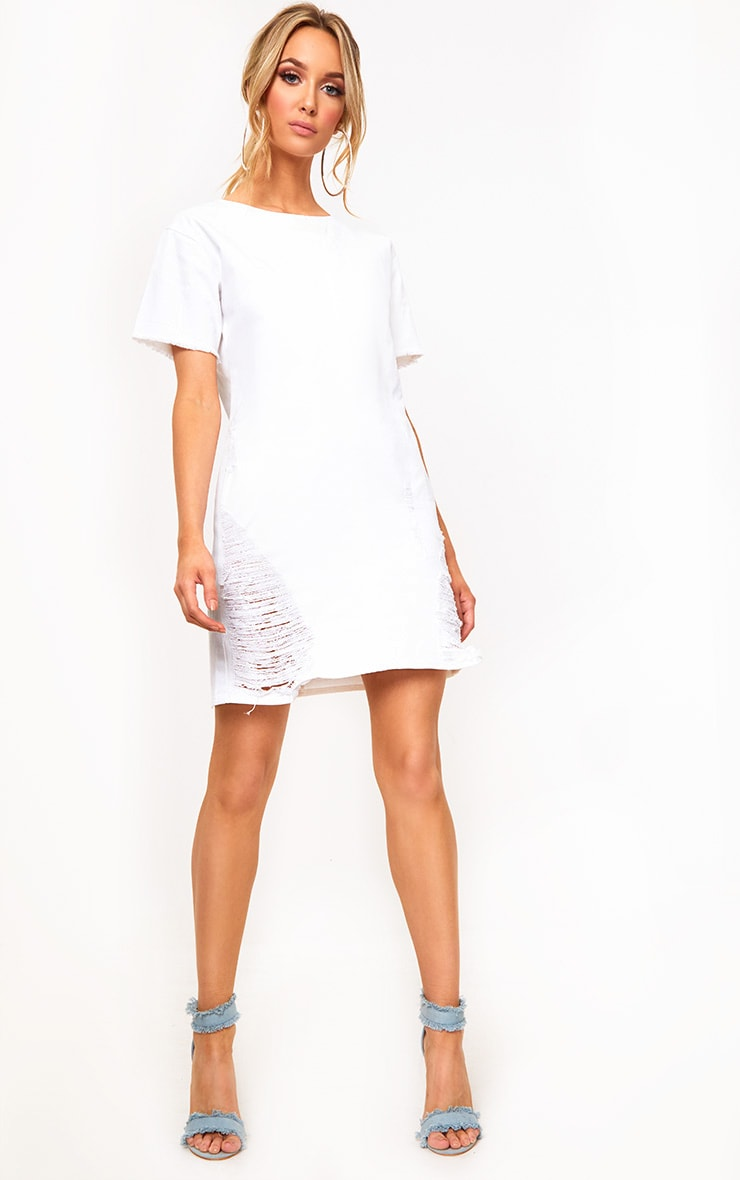 White Super Shred Denim Mini Dress 4