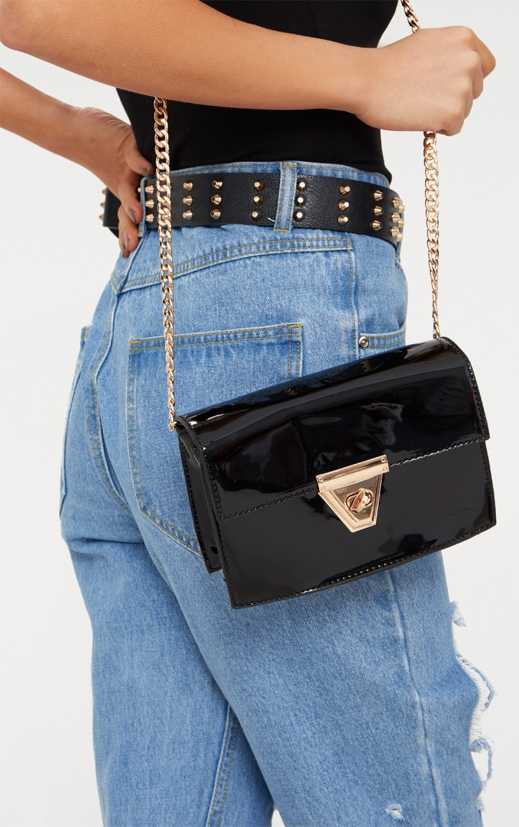 Black Patent Clasp Chain Body Bag 2