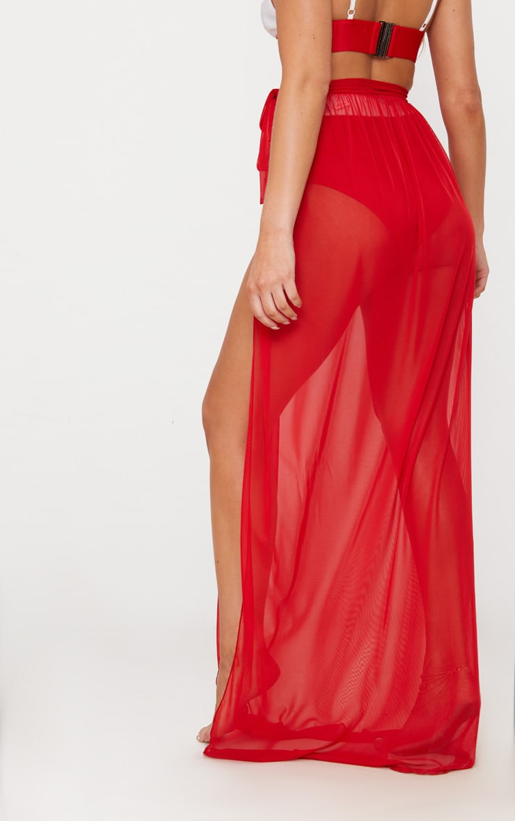 Red Tie Side Maxi Beach Skirt 4