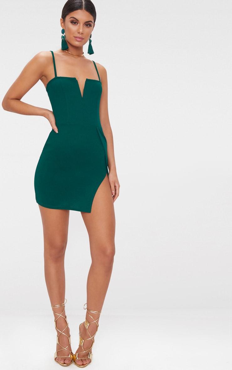 Emerald Green Extreme Thigh Split Panelled Plunge Bodycon Dress 4