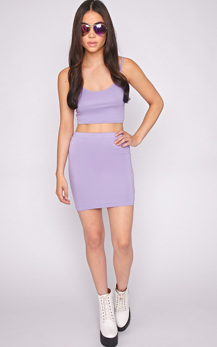 Clarissa Lilac Bodycon Jersey Mini Skirt 6