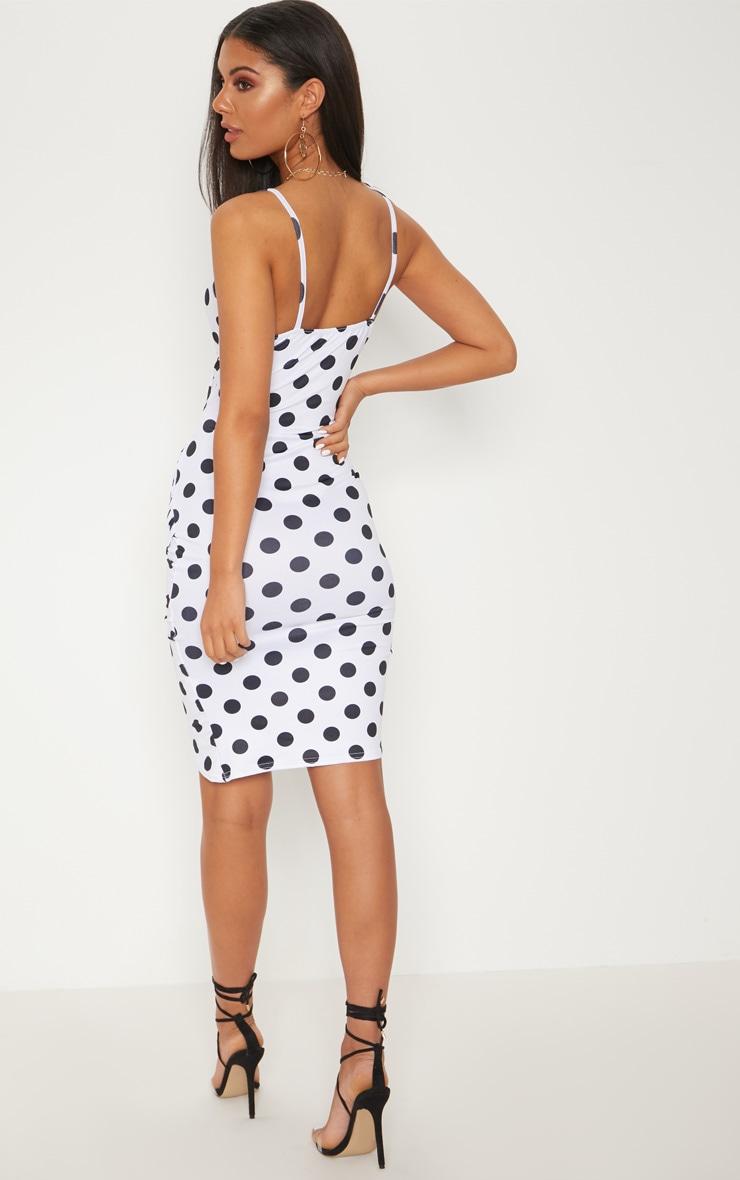 White Polka Dot Wrap Detail Midi Dress 2