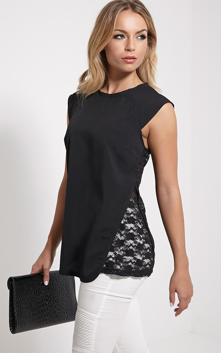 Zita Black Lace Top 1