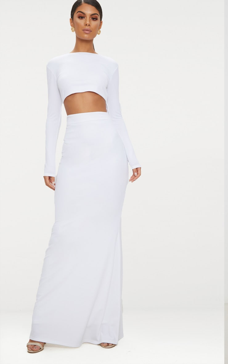 White Cut Out Detail Long Sleeve Maxi Dress 1