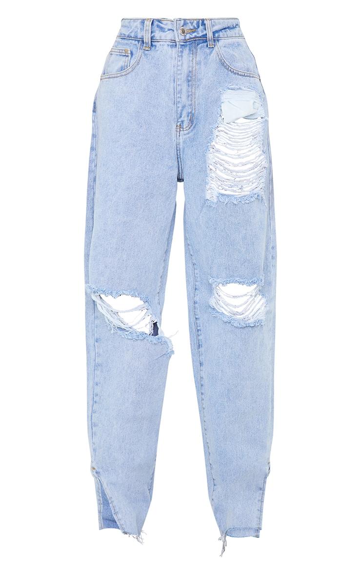 Light Blue Wash  Ripped Split Hem Boyfriend Jeans 5