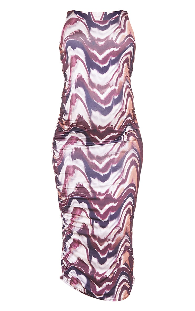 Maternity Brown Marble Print Slinky Ruched Midi Dress 5