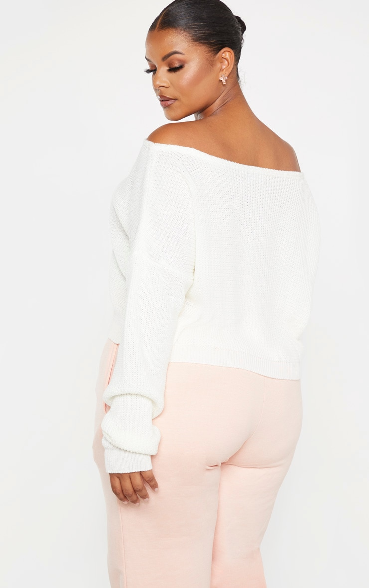 Plus Cream Off the Shoulder Crop Knitted Sweater 2