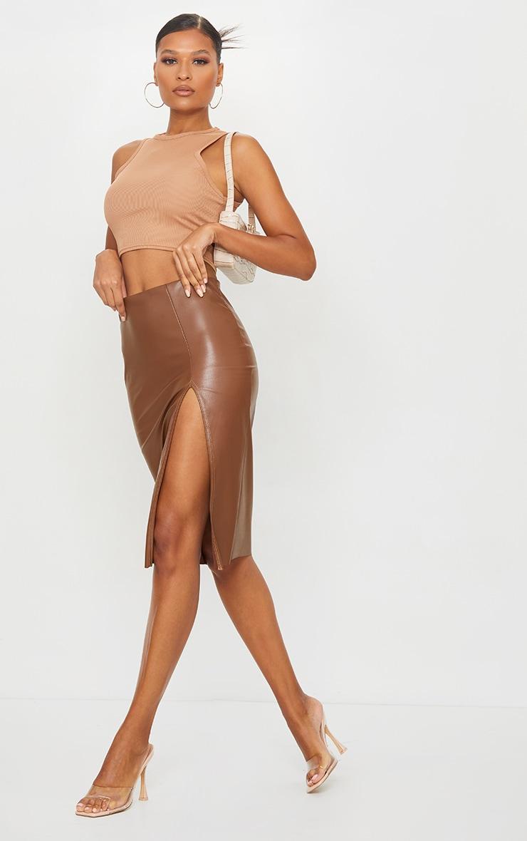 Camel Faux Leather Split Detail Midi Skirt 1
