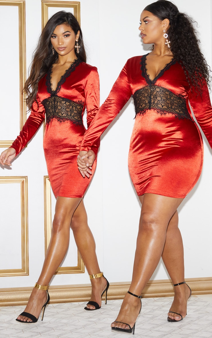 Red Satin Lace Panel Bodycon Dress 2