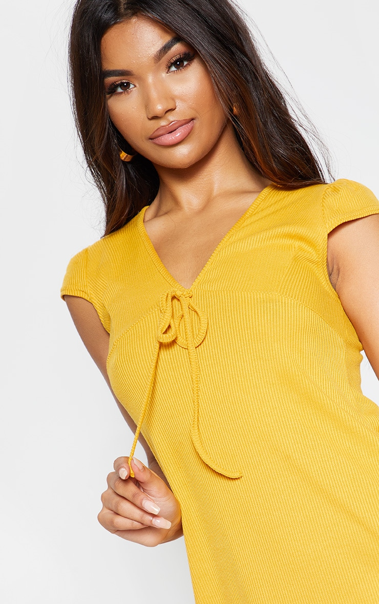 Mustard Tie Rib Cap Sleeve Swing Dress 5