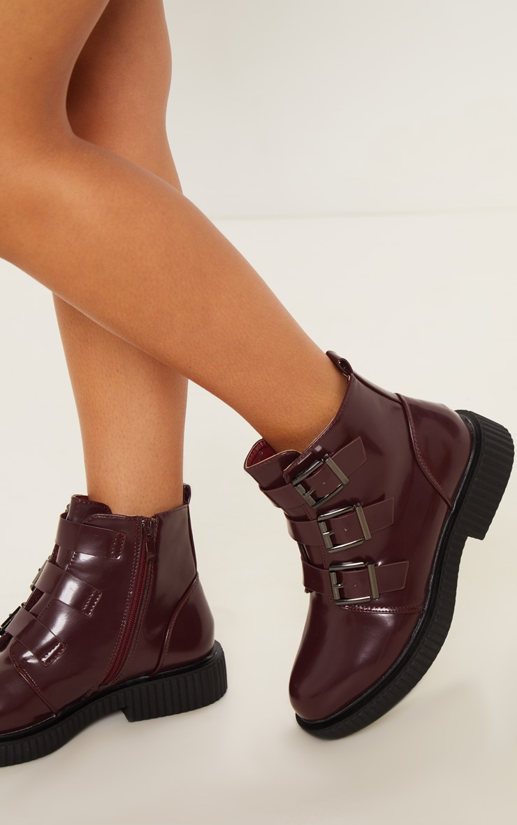 Burgundy Triple Buckle Biker Boot 2