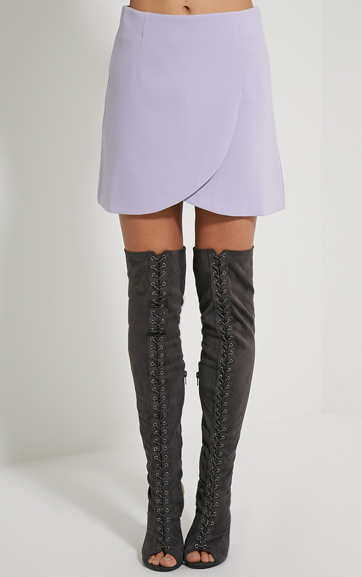 Sabeen Mauve Curved Hem Mini Skirt 2