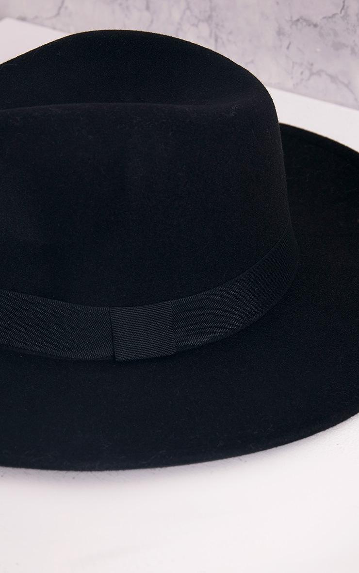 Kynia Black Wide Fedora Hat 5