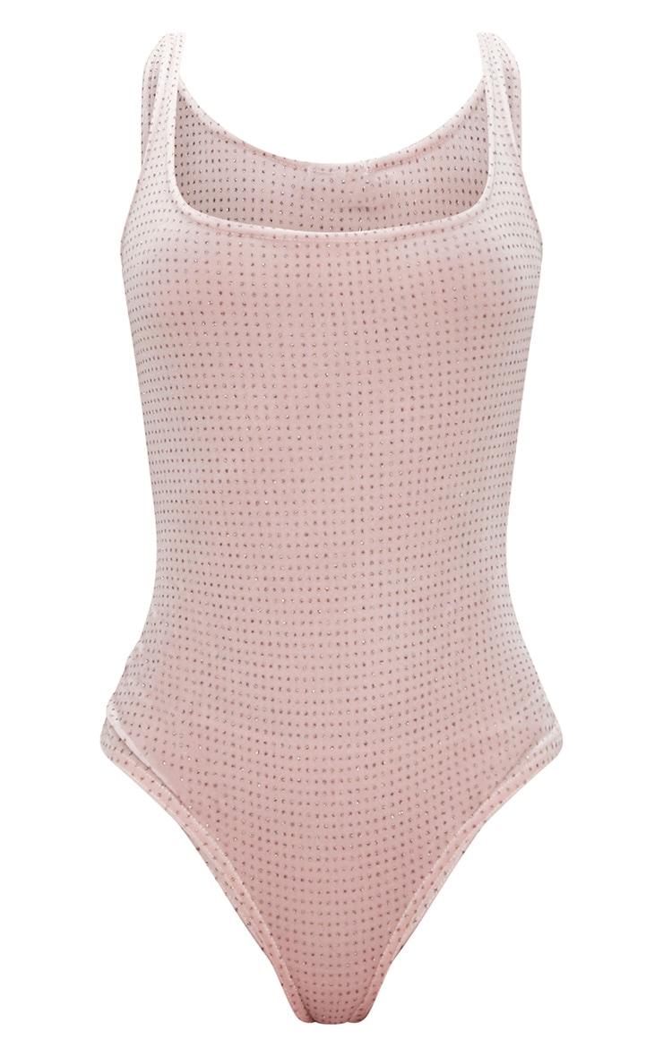 Blush Sparkle Velvet  Square Neck Thong Bodysuit 3