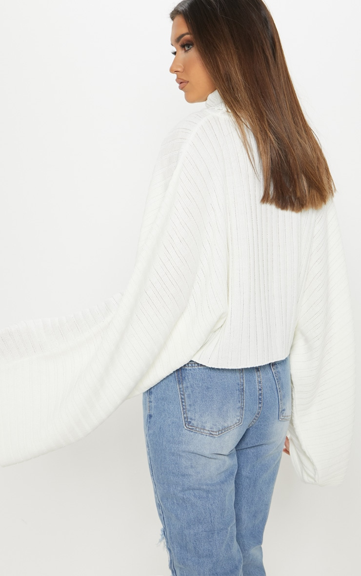 Cream Ribbed Knit High Neck Sweater  3