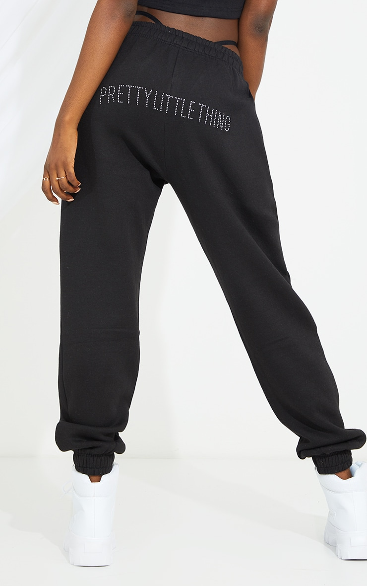 PRETTYLITTLETHING Tall Black Diamante Track Pants 3