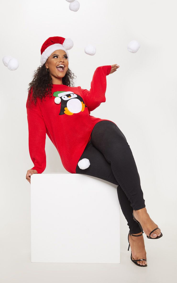 Plus Red Penguin Pom Pom Sweater 1
