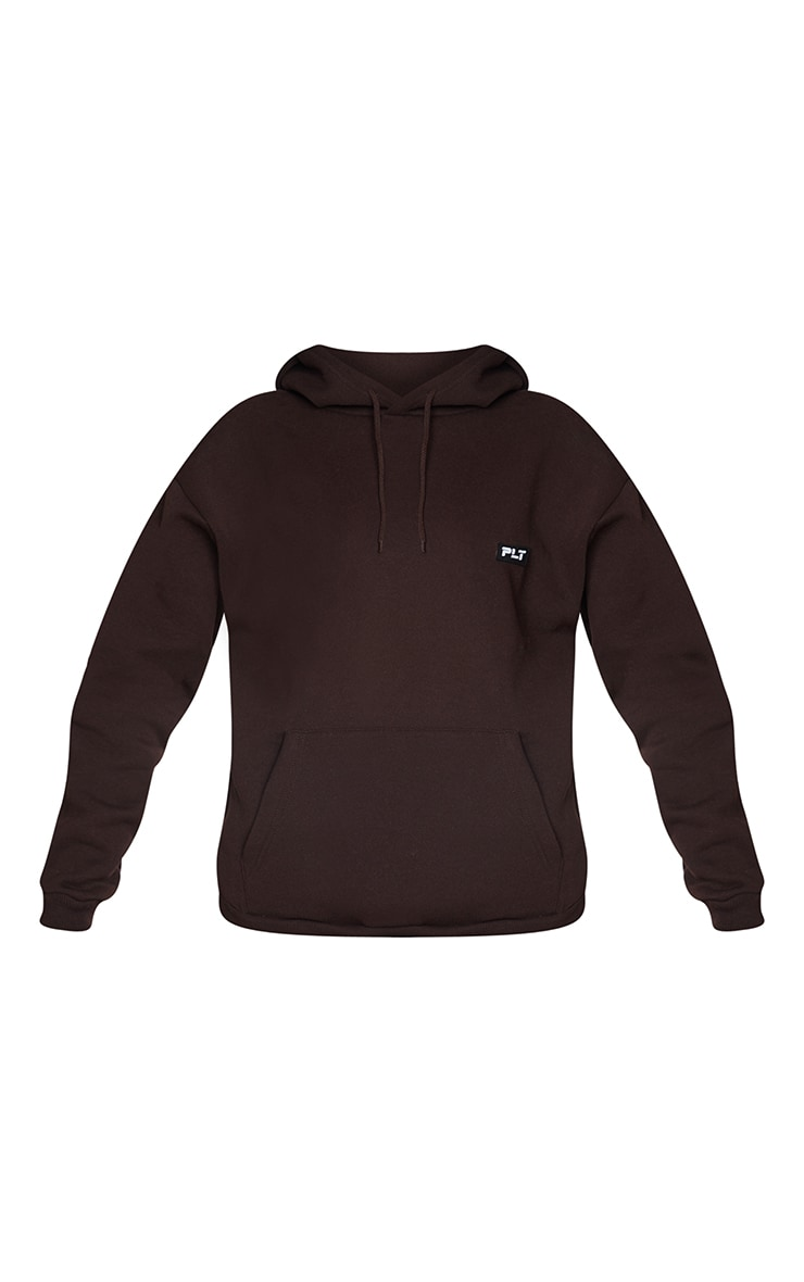 PRETTYLITTLETHING Chocolate Badge Detail Oversized Hoodie 5