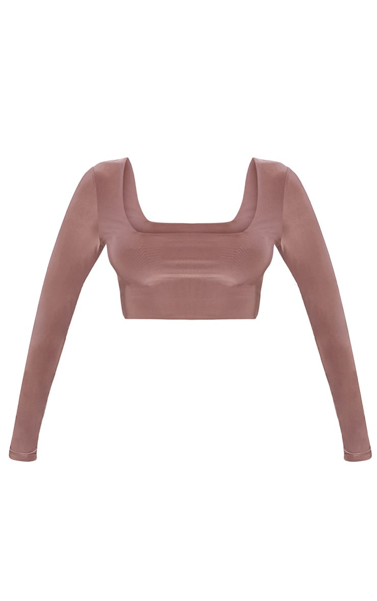 Stone Second Skin Square Neck Long Sleeve Crop Top  3