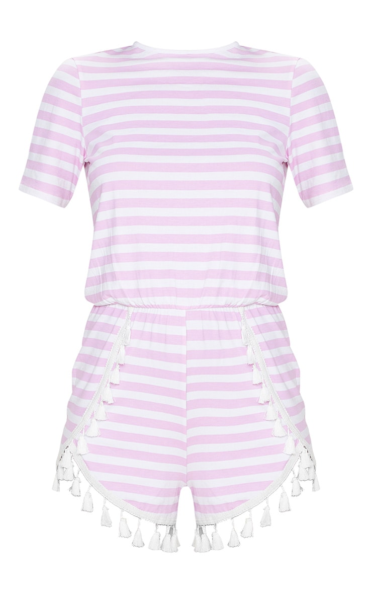 Pink Striped Tassel Trim Romper 3