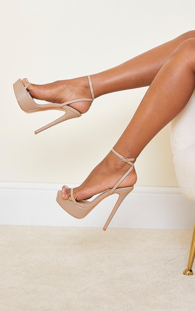 Sand PU Platform Strappy High Heels 1